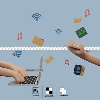 Концепция общения на ноутбуке и смартфоне, обмен файлами, подключенными по беспроводной сети