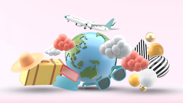 지구는 분홍색에 짐, 모자, 선글라스, 구름과 비행기로 둘러싸여 있습니다.
