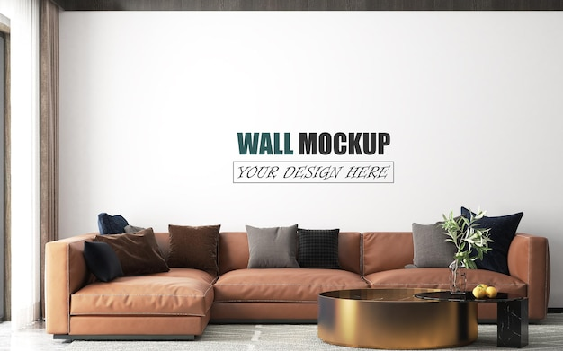 リビングルームには茶色のソファの壁のモックアップがあります