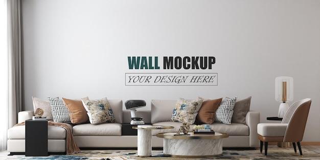 リビングルームにはモダンなスタイルの壁のモックアップがあります