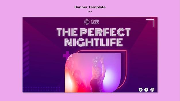 Шаблон баннера идеальной ночной жизни