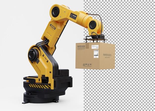 ロボットアームが箱を持ち上げます