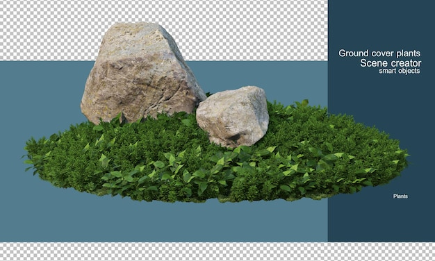 石は花畑や低木にあります