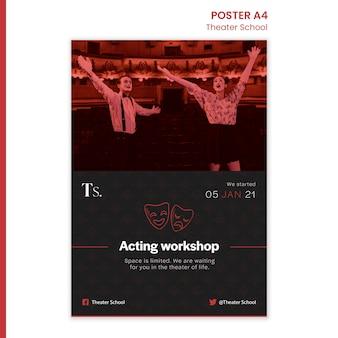 Modello di poster di scuola di teatro