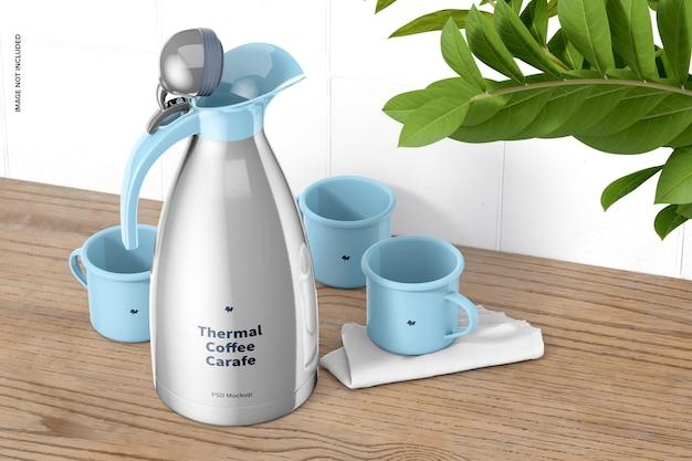 열 커피 카라페 모형 무료 PSD 파일