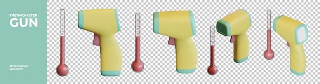 温度計ガンの3dレンダリング要素