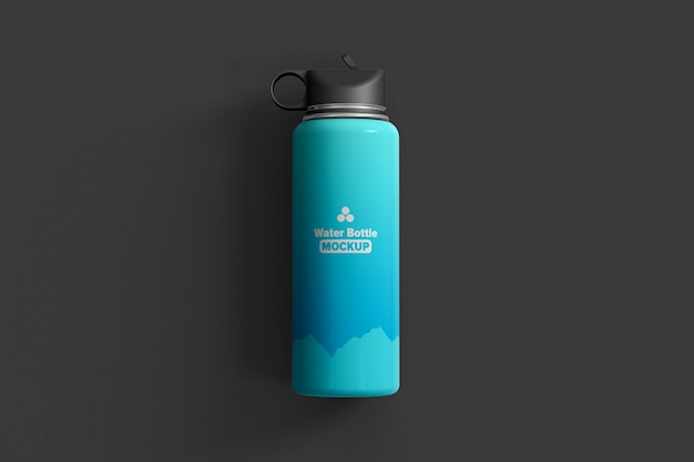 Thermos water bottle top view mockup isolated