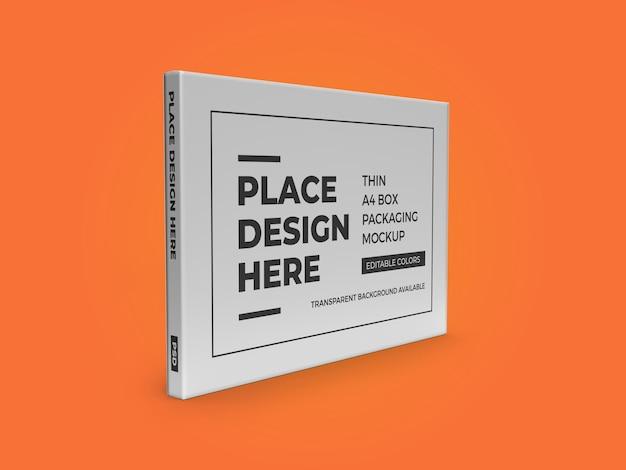 Thin a4 box packaging mockup template psd Premium Psd