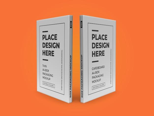 Thin a4 box packaging mockup template psd