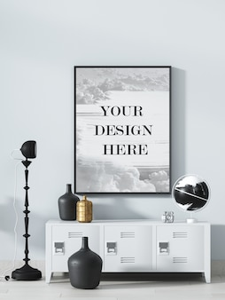 Thin black picture frame mockup on wall with gold and black accessories