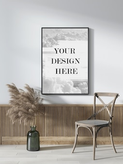 Thin black wall frame mockup in country style interior