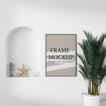 Thin frame mockup in cycladic style interior