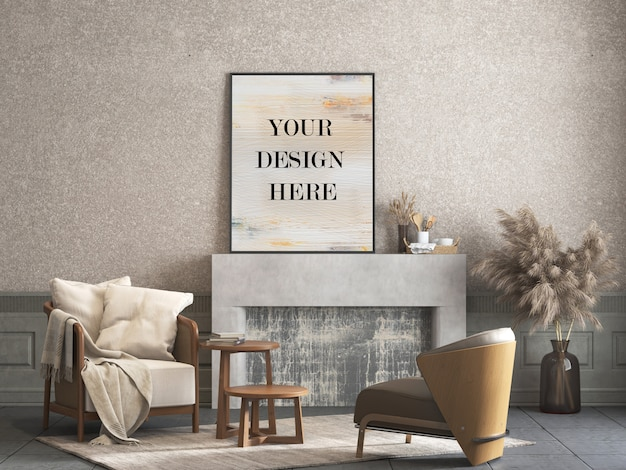 家具付きの部屋で装飾的な漆喰壁にもたれて薄いフレームモックアップ