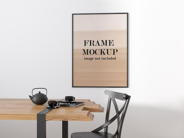 Thin frame mockup on white wall