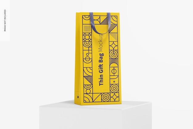 Тонкий подарочный пакет с ленточной ручкой, макет