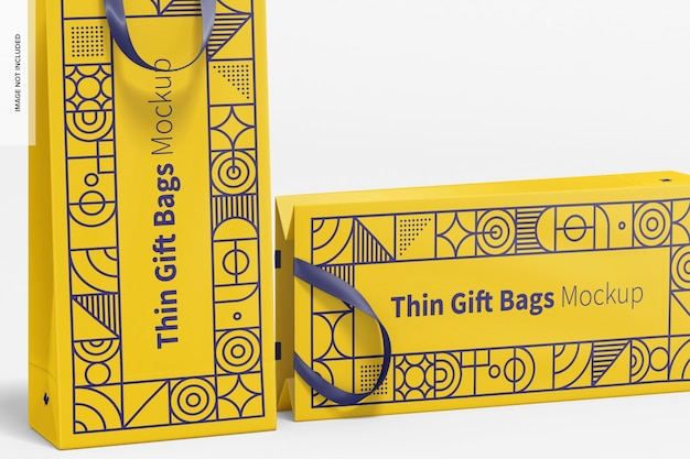 Thin gift bags with ribbon handle mockup, close-up
