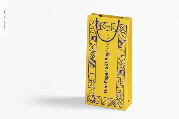 Тонкий бумажный подарочный пакет с макетом ручки из веревки