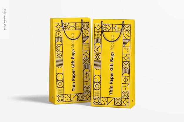 Тонкие бумажные подарочные пакеты с макетом с веревочной ручкой