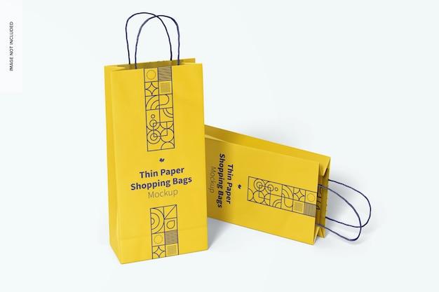 薄い紙の買い物袋のモックアップ、展望