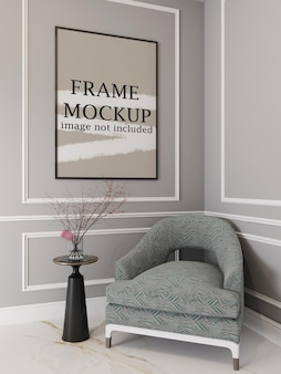 Thin picture frame mockup on molding wall