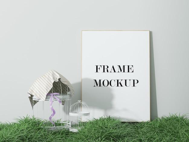 Тонкая рамка рисунка на зеленой траве в 3d-рендеринге