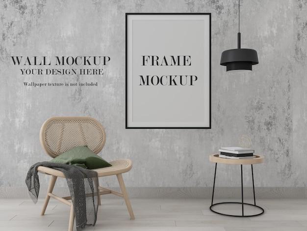 Тонкая рамка постера и макет обоев дизайн интерьера