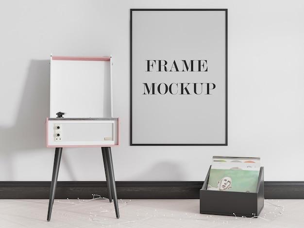 壁に薄いポスターフレームのモックアップデザイン