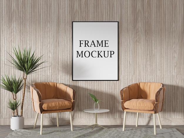 Тонкий макет рамки плаката в интерьере летнего дома