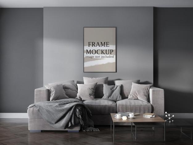 Thin poster frame mockup in modern living room