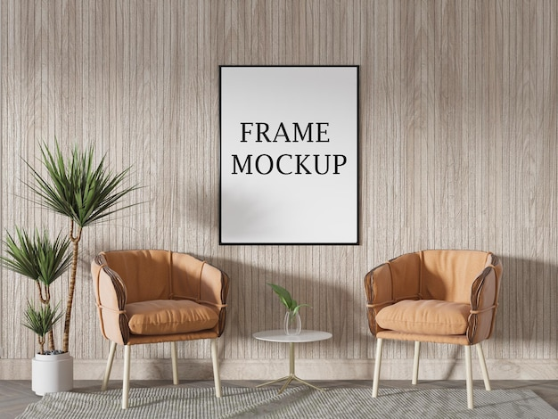 Thin poster frame mockup in summer house interior