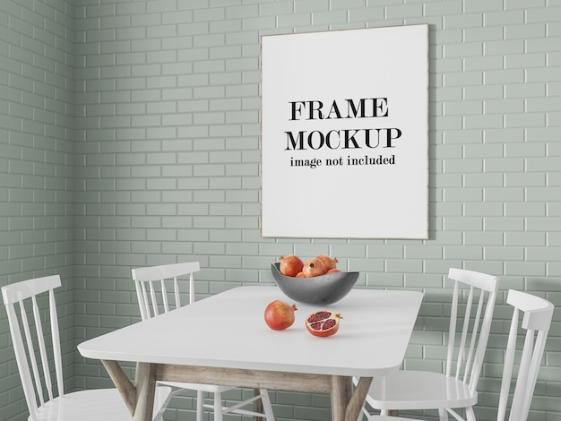 Thin poster frame mockup on wall