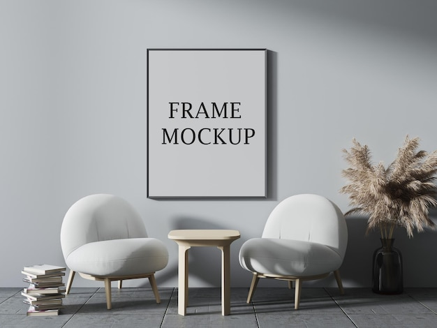 Thin poster and picture frame mockup in 3d scene