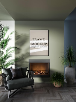 Thin wall frame on green wall above fireplace