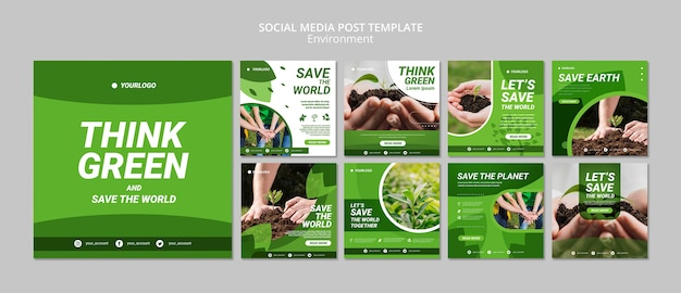 Think green social media post template