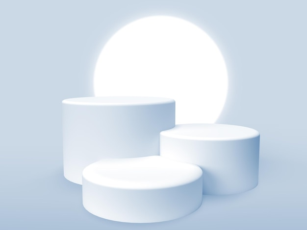 光の輪を使った製品プレゼンテーション用の3つの3d表彰台