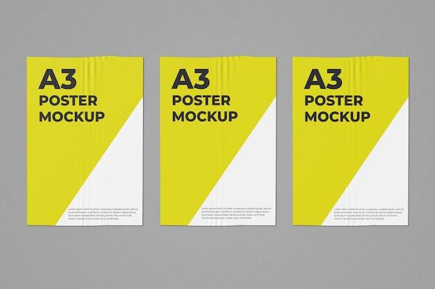 3つのa3ポスターモックアップ