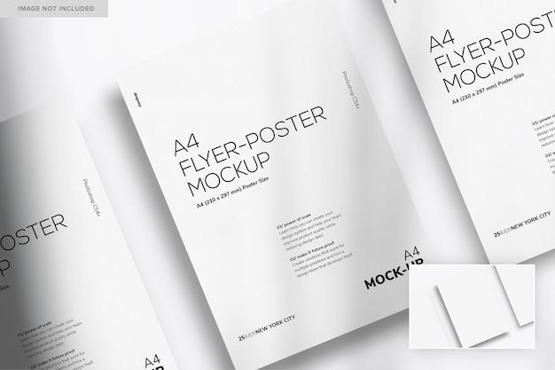 Мокап из трех листовок и плакатов формата а4