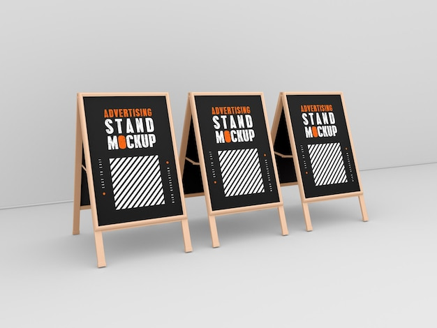 Three advertising stand mockup