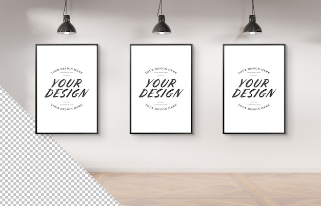 Three black frame hanging on a white wall mockup cut out elements