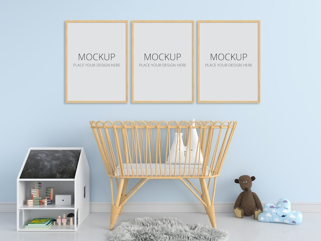Three blank photo frame for mockup in child bedroom