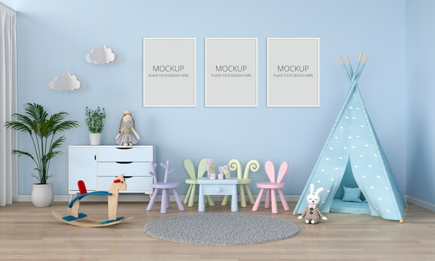 Three blank photo frame for mockup