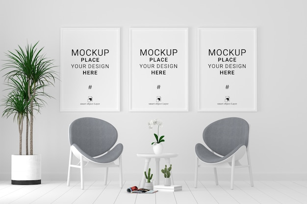 Three blank photo frames for mockup in living room, template psd.