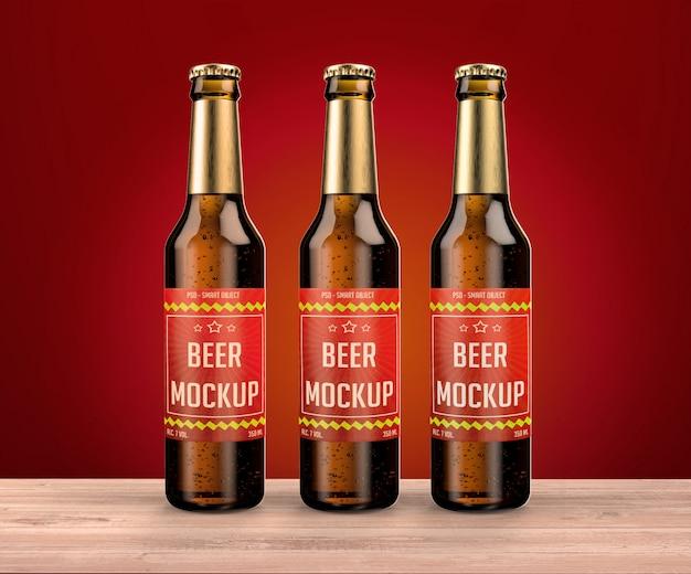 Three bottles on the table mockup