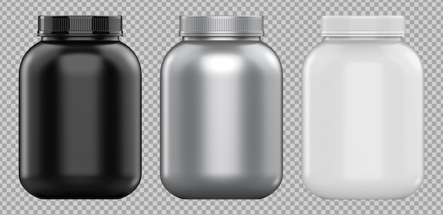 Three cans of protein or gainer powder