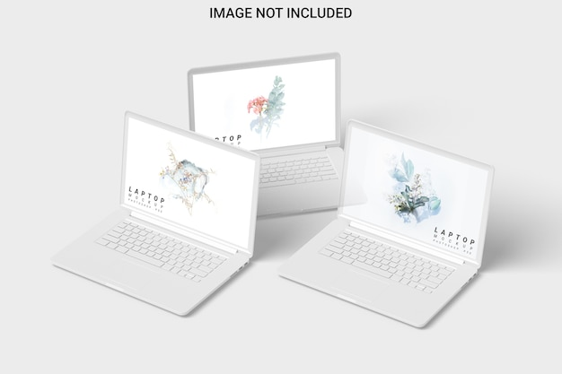 Three clay laptop mockup front view isolated