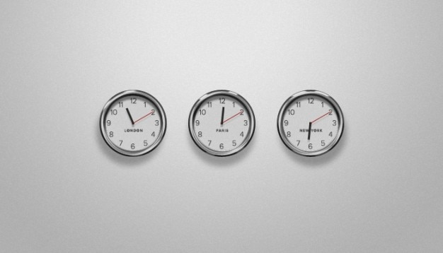 Three clocks with the hour of different countries