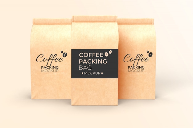 Three coffee paper bag mockup psd