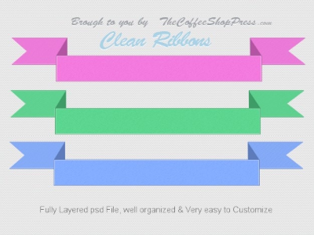 Three colored ribbons psd graphic