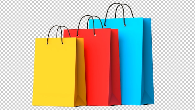 Three colourful paper shopping bags