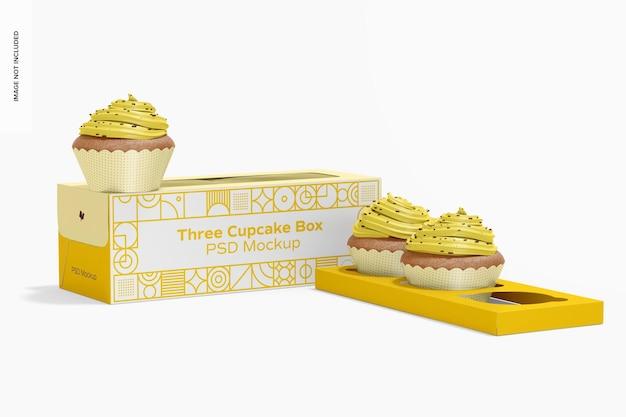 Мокап коробки с тремя кексами, перспектива